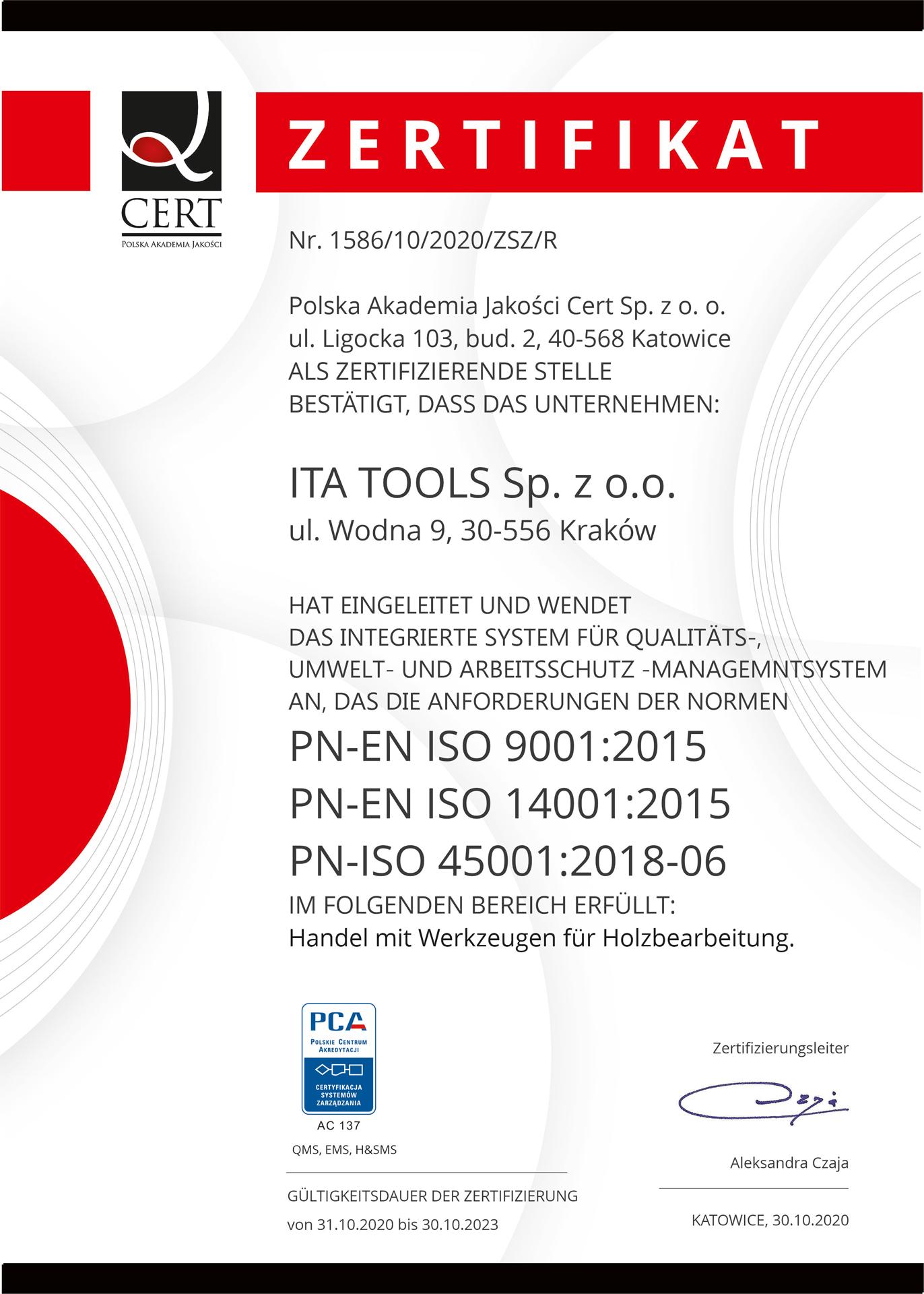 Zerftifikat ISO ITA TOOLS